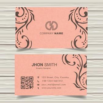 Vintage pink business card design