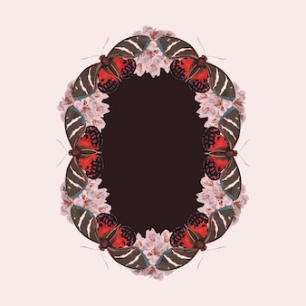 Vintage pink butterfly pattern vector frame, remix from the naturalist's miscellany by george shaw