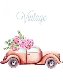 Vintage pink car with rose flowers and green leaves on the roof