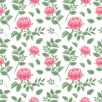 Vintage pink peony floral seamless pattern with flower buds and leaf branches