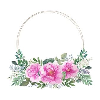 ラウンドゴールデンサークルワイヤーフレームとヴィンテージピンクのバラの花束水彩