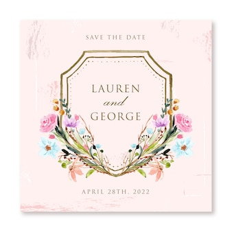Винтаж розовый сохранить дату с цветочной рамкой акварелью
