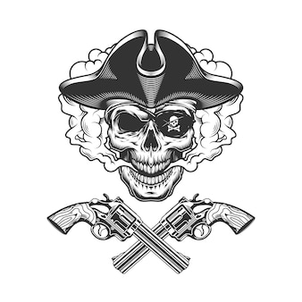 Vintage pirate skull with eye patch