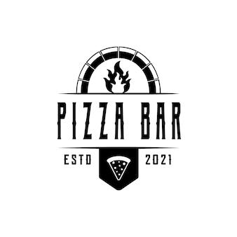 Винтажный шаблон логотипа пиццы для пиццерии или кафе. символы для еды и напитков и ресторанов векторные иллюстрации