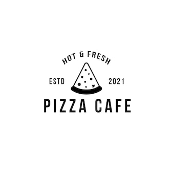 Vintage pizza logo template for pizza restaurant or cafe . symbols for food and drink and restaurants vector illustration