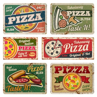 Vintage pizza metal signs with grunge texture vector set. retro food posters in 50s style