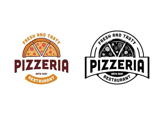 빈티지 피자 레스토랑 로고 디자인 템플릿 영감, 스탬프 라벨 배지 원형 라운드