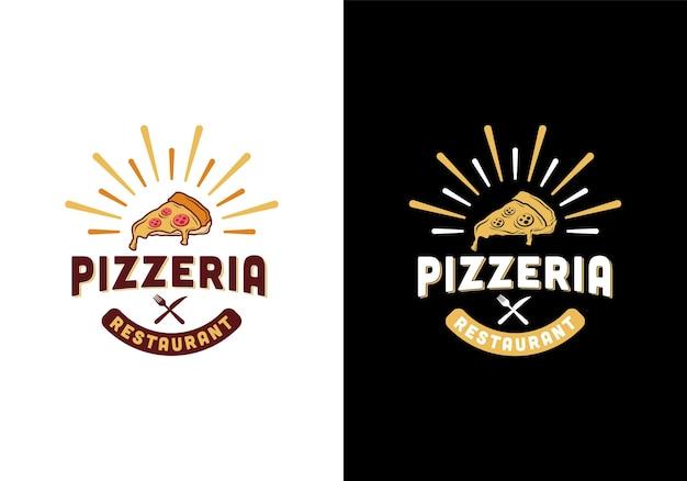 빈티지 피자 레스토랑 로고 디자인 템플릿 영감