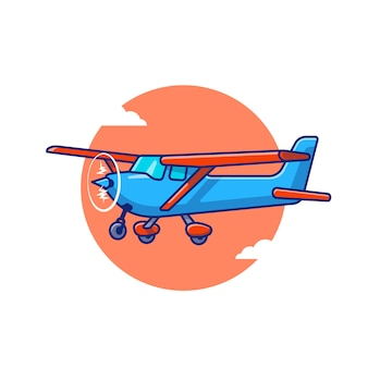 Vintage plane cartoon icon illustration. air transportasion icon concept isolated premium . flat cartoon style