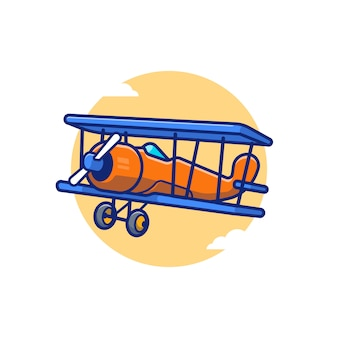 Vintage plane cartoon icon illustration. air transportation icon concept isolated premium . flat cartoon style