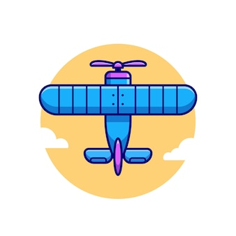 Vintage plane cartoon  icon illustration. air transportation icon concept