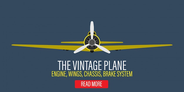 Vintage plane engine  illustration background. retro yellow aircraft propeller flight adventure biplane. classic flat art banner flyer machine