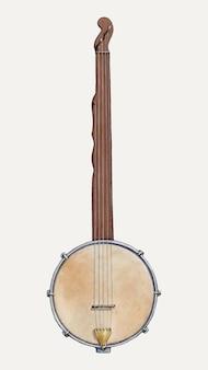 Illustrazione vettoriale di banjo di piantagione vintage, remixata dall'opera d'arte di floyd r. sharp