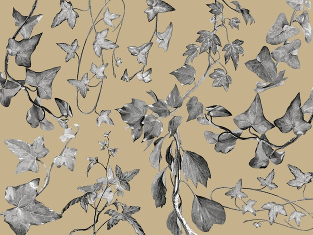 Иллюстрация старинных растений и листьев