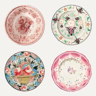 Insieme di vettore dell'illustrazione del piatto vintage, remixato dalla collezione di pubblico dominio