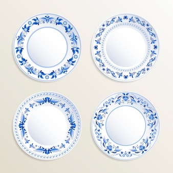 Vintage plates painted at gzhel style