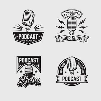 Vintage podcast logo collection