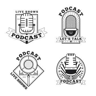 Pacchetto logo podcast vintage