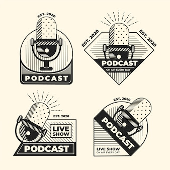 Vintage podcast logos set