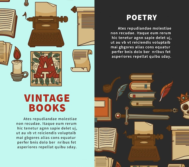 Vintage poetry books posters for bookshop or bookstore library