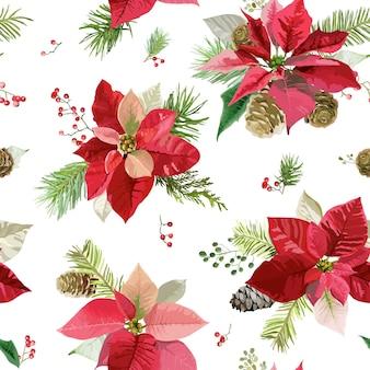Vintage poinsettia flowers background seamless christmas pattern