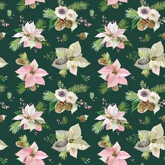Vintage poinsettia   seamless pattern