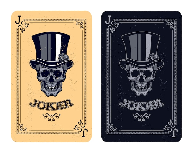 Vintage poker cards with skull