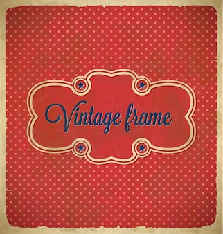 Vintage polka dot frame with stars