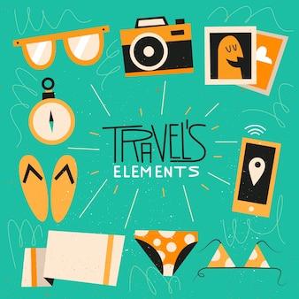 Vintage polygonal travels elements pack