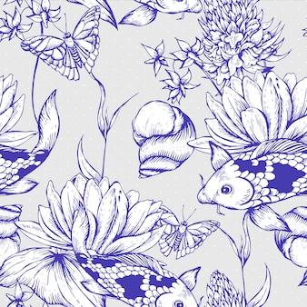Vintage pond water flowers seamless pattern