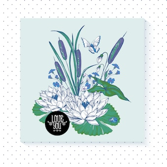 Vintage pond watery flowers greeting card