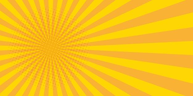 Vintage pop art banner with yellow pop art on halftone light background