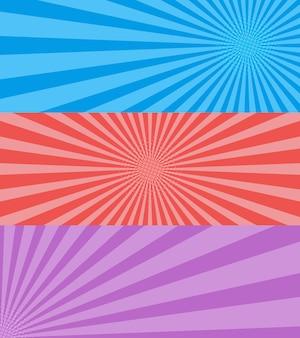 ヴィンテージポップアート、青、赤、紫の背景。バナーベクトルイラスト。