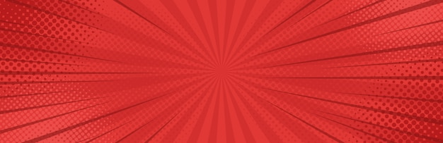 Vintage pop art red banner background.