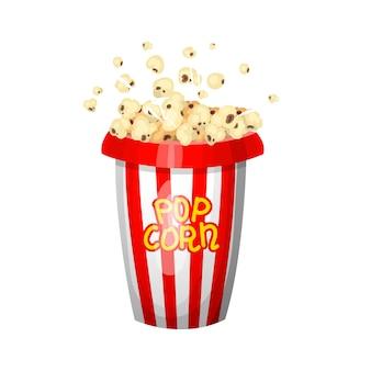영화 빈티지 팝콘. 영화관에서의 엔터테인먼트 및 레크리에이션. 레트로 포스터 배경입니다. 아이들을위한 음식.