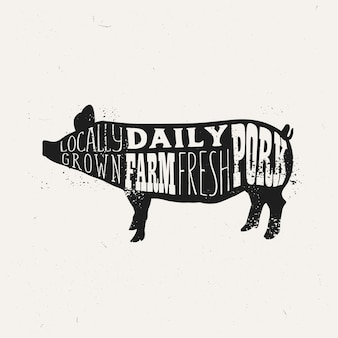 Vintage pork typography design, farm fresh pork poster template.