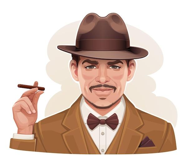 Старинный портрет мужчины в шляпе с сигарой в руке