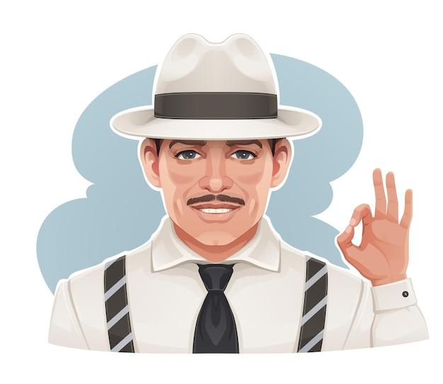 Старинный портрет мужчины в шляпе, делающего пальцами знак