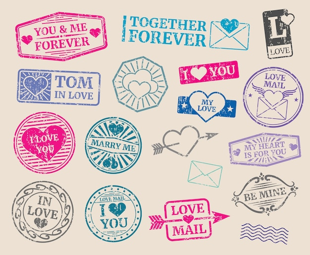 Vintage postage stamps vector set. romantic date, love, valentines day. collection of seal with text