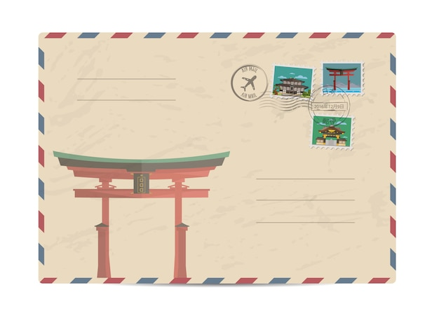 Vintage postal envelope with japan stamps