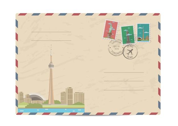 Старинный почтовый конверт с марками
