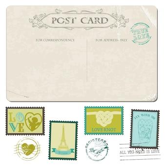 빈티지 엽서와 우표