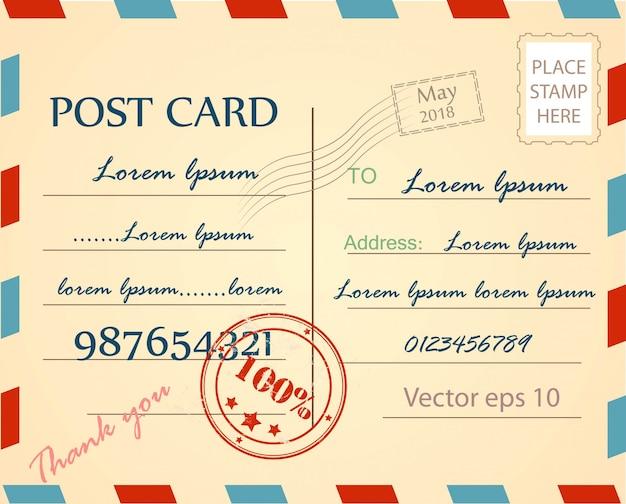 Vintage postcard background vector template