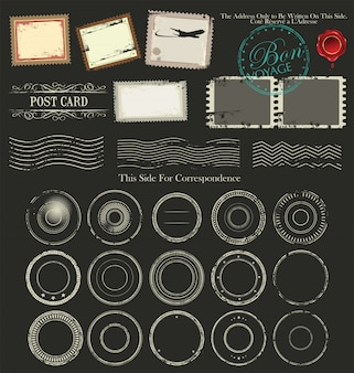 Vintage postcard designs and postage elements