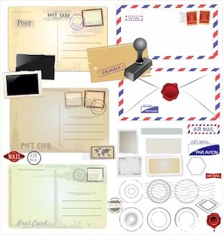 Vintage postcard and postage stamps