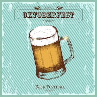 Vintage poster for beer festival. oktoberfest sketch, freehand drawing.