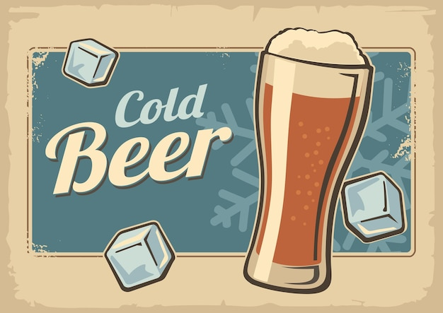 빈티지 포스터 시원한 맥주와 눈송이 레트로 라벨 또는 배너 디자인