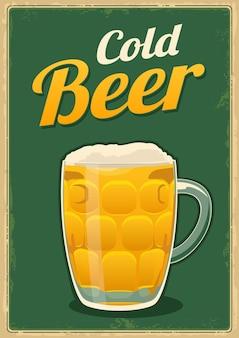 Vintage poster cold beer. for emblem, poster