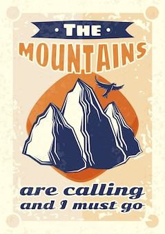 Design poster vintage con illustrazione di montagne e un'aquila