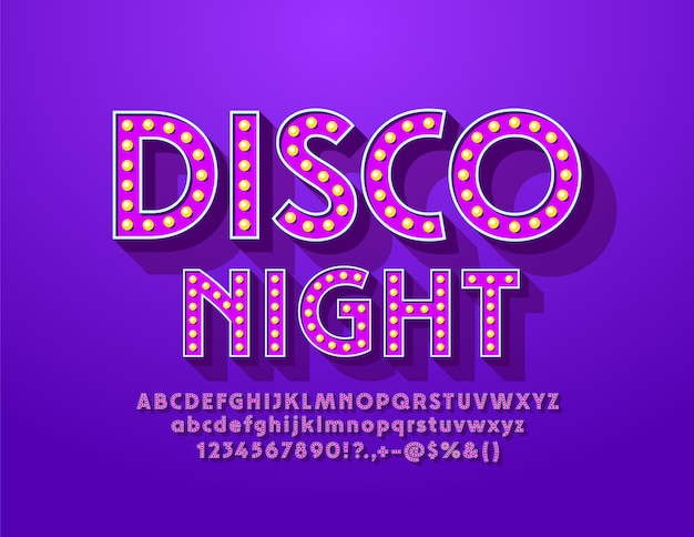 Vintage poster disco night with violet light bulb font. elegant lamp alphabet letters and numbers Premium Vector